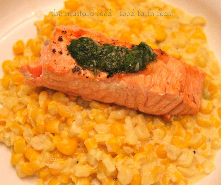 Creamed Corn with Grilled Salmon and Basil Viniagrette