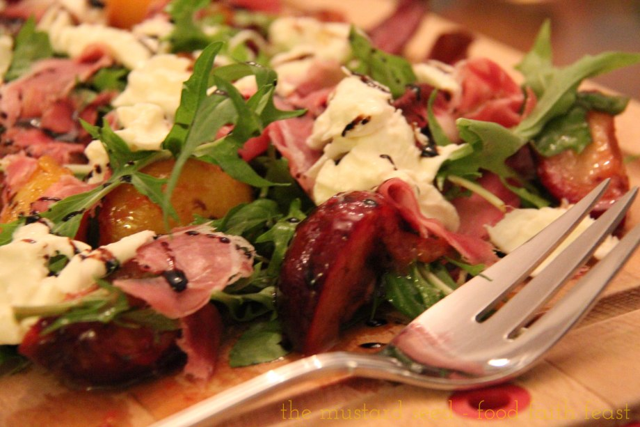 Burrata, Grilled Plum, Parma Ham and Arugula Salad